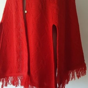 Vintage red cable knit sweater poncho